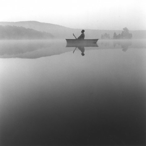 Tseng Kwong Chi,Lake Ninevah, Vermont,1985.Gelatin silver print, 16 x 16 inches.