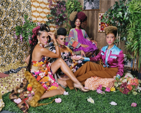 Mickalene Thomas, Racquel with Les Trois Femmes, 2018. Chromogenic print, 48 x 60 inches.