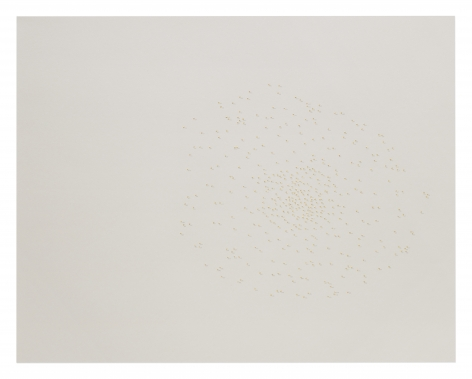 Halos, Gardner Museum445-017, 2018.Braille punch, gold leaf, and graphite on paper.