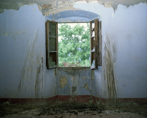 Window with bird droppings, Villa Vitigliano, Chianti, Italy, 2009. Archival Pigment Print, Editions of 5. Available Sizes: 20 x 24 inches, 30 x 40 inches, and 40 x 50 inches