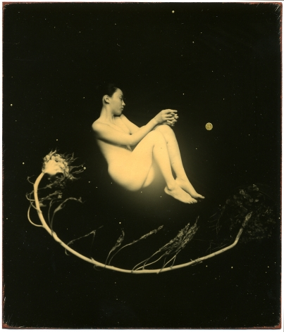 Masao Yamamoto, Untitled #1414 from the series Nakazora. Hand-toned gelatin silver print with gold paint,, 4 x 3 1/2 inches.