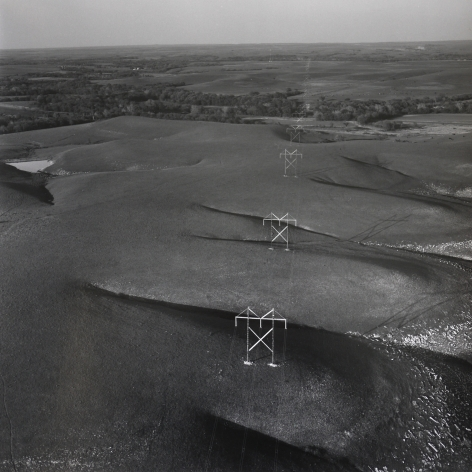 East of Matfield Green, Chase County, Kansas (Flint Hill Poles), 1990, 15 x 15 inch gelatin silver print