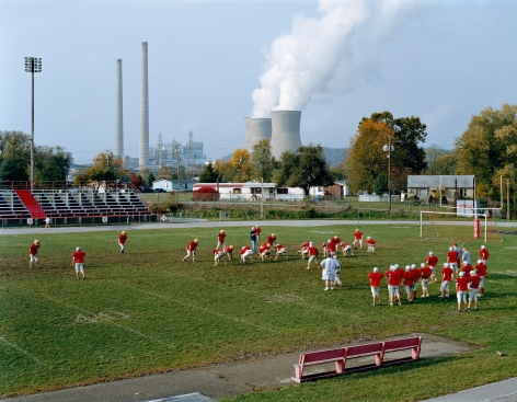 Poca High School and Amos Plant, West Virginia, from the seriesAmerican Power, 2004.Chromogenic print, 45 x 58 or 70 x 92 inches.