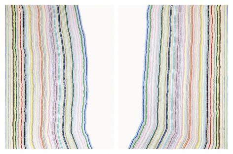 Chiral Lines 26, marker and pen on paper. 50 x 38incheseach, 50x 76inches overall