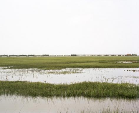 Untitled (Trains Crossing Estuarial Corridor-5), Virginia Point, Texas, 2015.