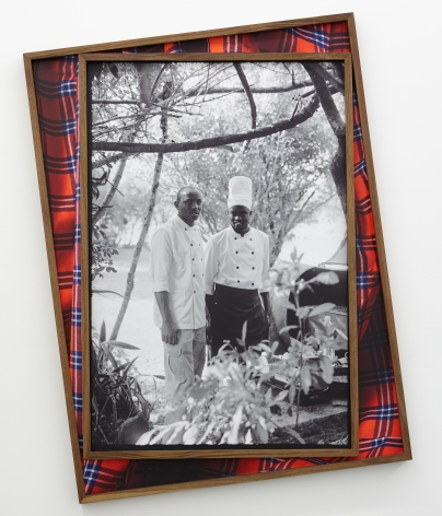 """post colonial bush breakfast """"no wahala"""",2021.Archival pigment print on canvas, artist's frame. 48 1/2 x 36 inches."""