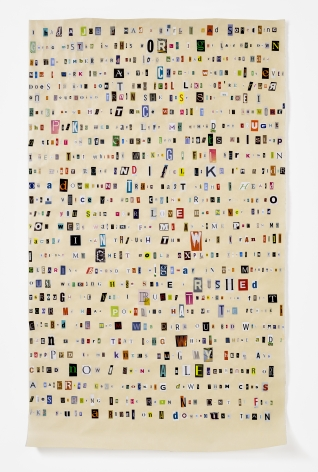 Rachel Perry,Soundtrack to My Life: Downbound Train by Bruce Springsteen (Storage Facility Office), 2017. Magazine clippings and polyvinyl adhesive on kozo paper. 64 1/2 x 38 1/2.