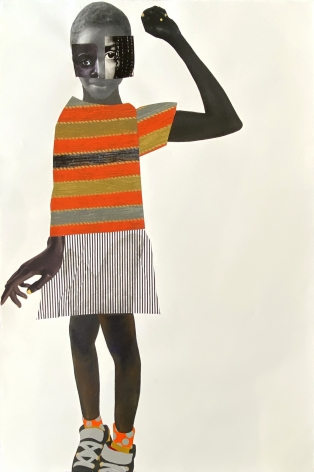 Deborah Roberts,Big girl now,2021. Mixed media on paper, 44 x 32 inches. Courtesy of the artist and Vielmetter Los Angeles.