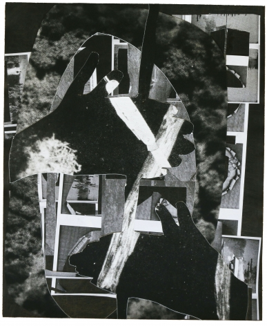 Dionne Lee,Fire Starter (1),2020. Collage of gelatin silver prints, cut paper, with graphite. 14 1/2 x 12 inches.