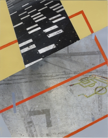 Crossing Field,2015. Acrylic, comic, and photo collage on paper,13 3/4 x 10 3/4 inches.