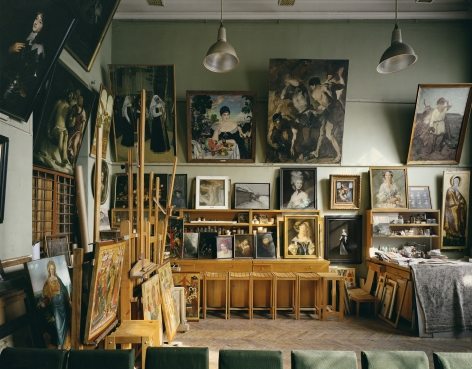 Restoration Studio, from the series Russia, 2003. Archival pigment print. Available at 30 x 40 inches, edition of 10, or 40 x 50 inches, edition of 5, or 50 x 60 inches, edition of 3, or 70 x 90 inches, edition of 3.