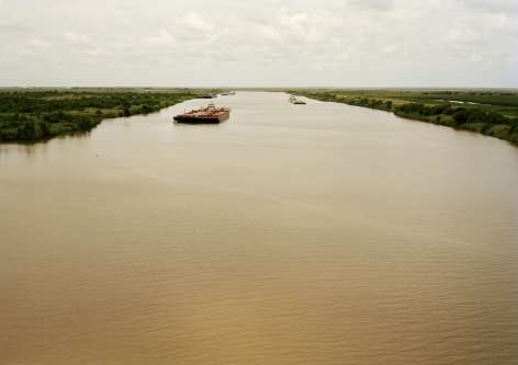 Untitled (Intercoastal Waterway with Red Barge), Bolivar Peninsula, Texas, 2015.