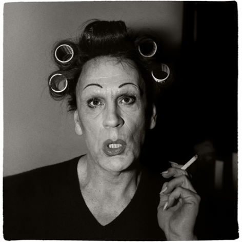 Diane Arbus / A Young Man in Curlers at Homeon West 20th Street, N.Y.C (1966), 2014,Archival pigment print,15 x 15 inches
