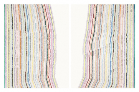 Chiral Lines 14, 2015, Graphite, marker, ballpoint, colored pencil on paper, Each: 50 x 38 inches, Overall: 50 x 76 inches