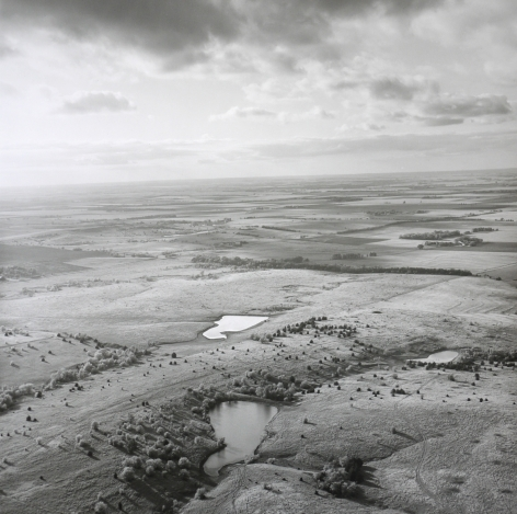 Ponds and Sky, Western Saline County, Kansas, May 8, 1991. Vintage gelatin silver print, image size 15 x 14 7/8 inches.