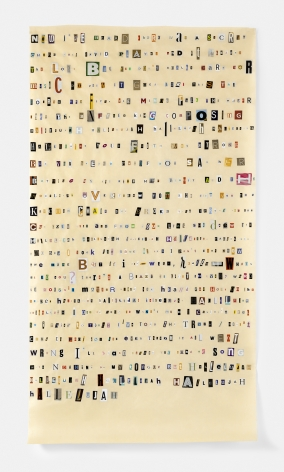 Soundtrack to My Life:Hallelujah by Leonard Cohen (Restaurant), 2018. Magazine clippings and polyvinyl adhesive on kozo paper. 71 x 38 1/2 inches.