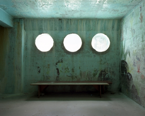 Three windows under pool, Sunrise Resort, Connecticut, 2008. Archival Pigment Print, Editions of 5. Available Sizes: 20 x 24 inches, 30 x 40 inches, and 40 x 50 inches