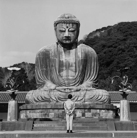 Tseng Kwong Chi,Kamakura, Japan,1988. Gelatin silver print, 16 x 16 inches.
