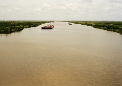 Untitled (Intracoastal Waterway with Red Barge), Bolivar Peninsula, Texas, 2015. 39 x 55 or 55 x 78 inch chromogenic Print.
