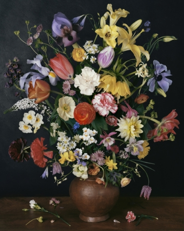 Photograph by Sharon Core titled 1634 from the series 1606-1907 of a floral still life arranged in the style of a classical painting