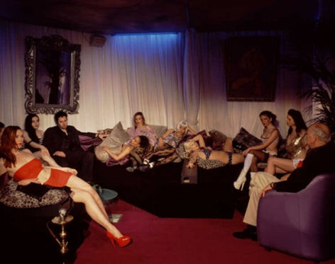 Father and Son Run £2m Vice Racket from Sauna,2005, 48 x 60 inch Cibachrome print