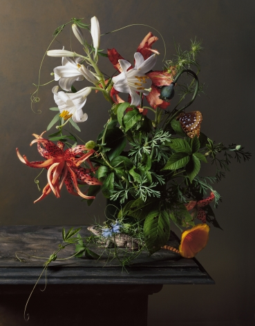 Photograph by Sharon Core titled 1640 from the series 1606-1907 of a floral still life arranged in the style of a classical painting