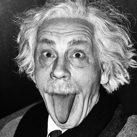Arthur Sasse / Albert Einstein Sticking Out His Tongue (1951), 2014, Archival pigment print, 9 x 9 inches
