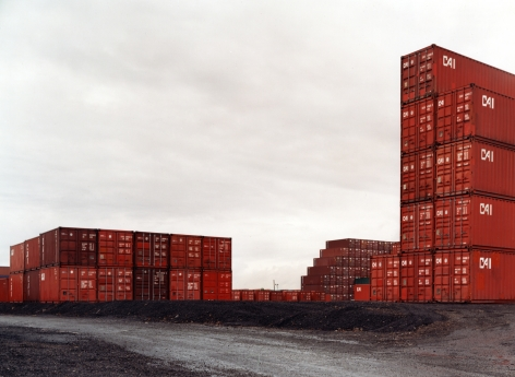 Untitled, Red containers stacked, Newark, New Jersey, 2001, 39 x 55 inch or 55 x 75 inch chromogenic print.