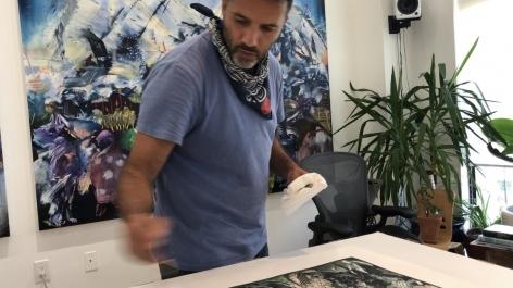 Ali Banisadr in the studio
