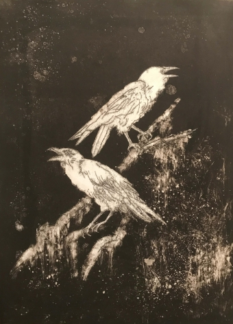 John Alexander Night Ravens, 2017 monotype on Fabriano Rosaspina paper 39 x 27 1/2 inches signed bottom right front (JoA-180)