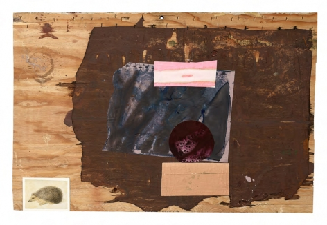 SHANE TOLBERT (b.1985 Corsicana, TX) Personality Test, 2019 acrylic and postcard on found supports 25 1/4 x 38 inches