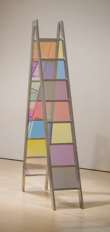 Stephen Dean  Double Ladder, 2006  dichroic glass and aluminum  104 x 17 x 36.25 inches  Private Collection