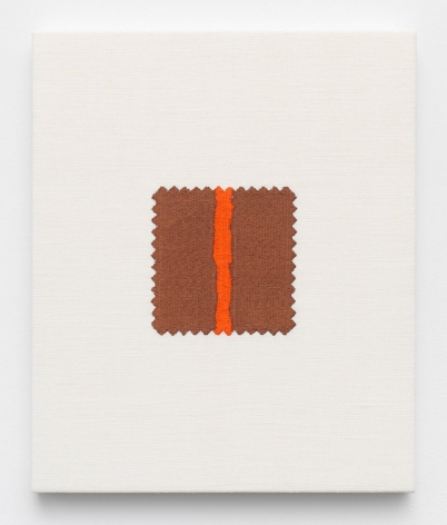 Elaine Reichek,  Swatch, Newman, 2006,  digital embroidery on linen,  12 x 10 inches,  edition of 3