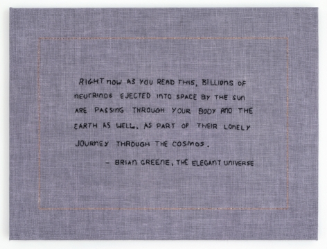 Elaine Reichek Billions of Neutrinos, 2017 hand embroidery on linen 12 x 16 inches