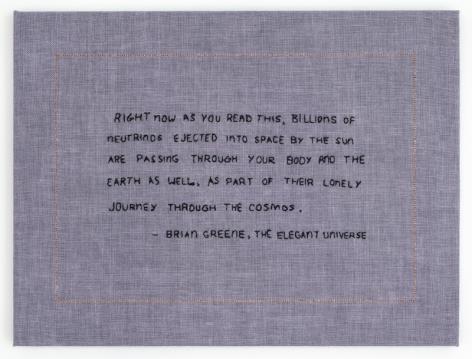 Elaine Reichek Billions of Neutrinos, 2017 hand embroidery on linen 12 x 16 inches