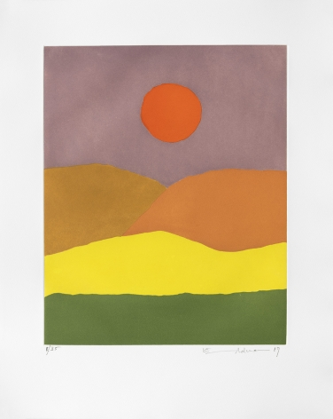 Etel Adnan Paysage de feu, 2017 etching 22 7/16 x 17 3/4 inches Edition 20 of 35 signed and dated bottom right front margin (EA-10)