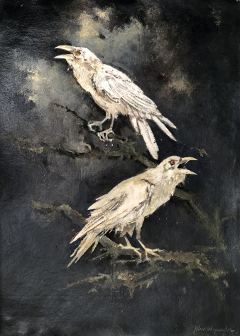 John Alexander  White Ravens, 2017  oil on paper  30 1/2 x 22 1/2 inches  Inquire
