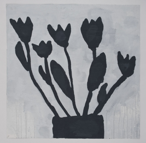 Donald Baechler  BLACK FLOWERS, 2011  gesso, Flashe, graphite and paper collage on paper  40 x 40 inches  Inquire