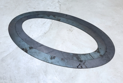 Christian Eckart  Circuit Floor Ellipse (Coyote's Paradox), 2011  plasma cut 1/8 inche steel  35 x 25 1/2 inches  Edition of 5 with 2 APs  $7,500