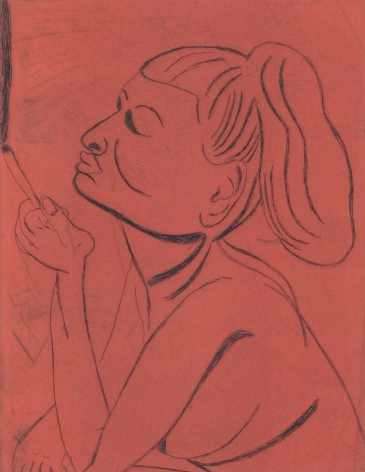 Tal R  Girl Smoking (#4 from series of 12), 2014  line etching on somerset 400 gr.  image: 7 3/4 x 7 1/8 inches  paper: 17 1/8 x 14 1/2 inches  frame: 18 3/4 x 16 1/2 inches  6, Edition of 24  $950