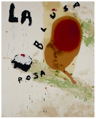 Julian Schnabel  Sexual Spring-Like Winter - La Blusa Rosa, II, 1995  hand painted, 14 color silkscreen with poured resin  40 x 32 inches  edition of 80  Publisher: Lococo FIne Art Publisher  $9,000  Inquire