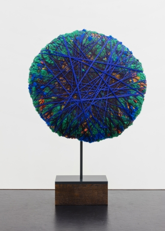 Sheila Hicks  Dream of Ultramarine, 2020  cotton, linen, pigmented acrylic fiber  19 5/8 inches in diameter