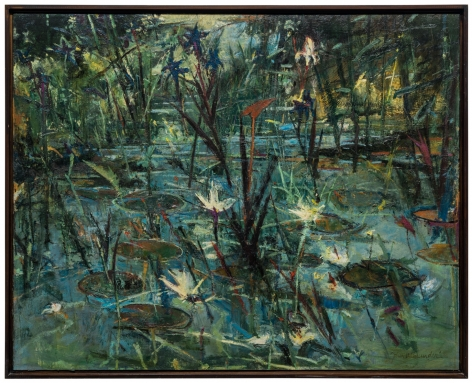John Alexander  Blue Irises (on my Pond), c. 1984  oil on canvas  50 x 60 inches  Inquire
