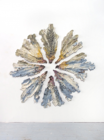 Brie Ruais  Spreading out From Center, 132 lbs (Vacant Lot Botanicals September 2019), 2019  glazed and pigmented stoneware, hardware  80 x 78 x 2 inches