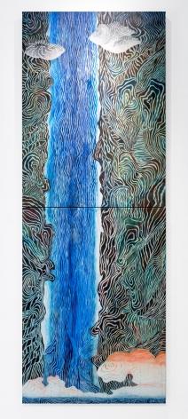 Mara Held  Takitsubo, 2016  egg tempera on linen over 2 panels  120 x 44 1/4 inches