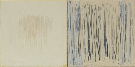 Christopher Le Brun Aside VI, 2020 oil on two canvases 16 x 31 7/8 inches (