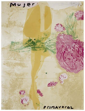 Julian Schnabel  Sexual Spring-Like Winter - Mujer Primaveral, 1995  hand painted 15-color screenprint with poured resin  40 x 30 inches  edition of 80  Publisher: Lococo FIne Art Publisher  $9,000
