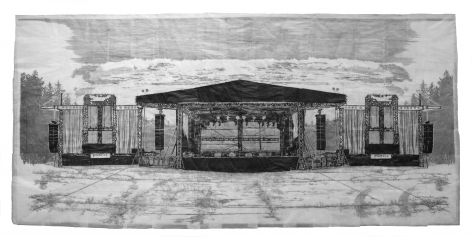 Kent Dorn When the Music's Over, 2020 graphite, tracing paper, and archival tape on Tyvek paper: 72 x 168 inches