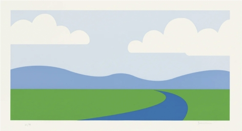 Julian Opie  Landscape., 1995  screenprint on Velin BFK Rives 270 gsm paper  Paper Dimensions: 18.9 x 34.57 inches  Image Dimensions: 15.67 x 31.38 inches  $6,300