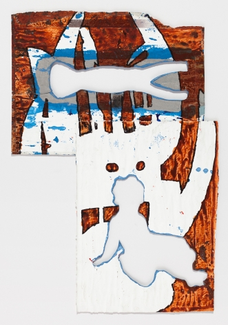 Bo Joseph  Virtual Artifacts: Remnants, 2015  ink, acrylic, tempera, gesso and collage on offset printed catalog pages, mounted on board  paper: 19 1/8 x 13 1/8 inches  frame: 24 1/2 x 18 3/4 inches